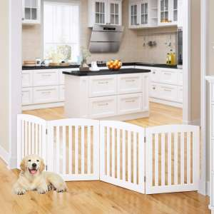 PAWLAND Wooden Freestanding Foldable Pet Gate for Dogs, 24 inch 4 Panels Step Over Fence, Dog Gate