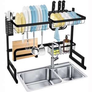 SOLEDI Over Sink Dish Rack Stainless Steel Dish Drying Rack Sturdy and Durable 72 Hours Anti Rust Test Maximize Kitchen Space Easy to Assemble