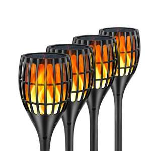 Ollivage Solar Lights Waterproof Outdoor Flickering Flames Torch Lights, 4 Pack