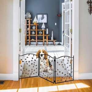 Zoogamo 3 Panel Leaf Design Metal Pet Gate - Durable Lightweight Extra Wide Expandable & Folding Home