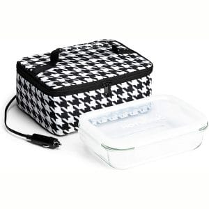 HotLogic 16801189-HND Food Warming Tote Lunch Bag 12V with Glass Dish, Houndstooth