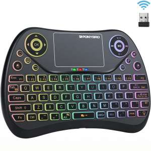 (Newest Version) PONYBRO Backlit Mini Wireless Keyboard with Touchpad Mouse Combo QWERTY Keypad,Rechargeable Handheld Keyboard Remote