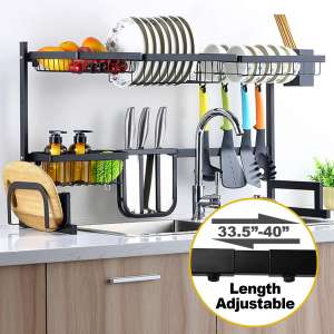 Sincalong Over Sink Dish Singalong Stainless Steel Kitchen Drainer Drying, Sturdy Storage Shelf