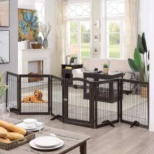 unipaws Pet Playpen with Wood and Wire, 6 Panels Freestanding Walk Through Dog Gate with 4 Support Feet