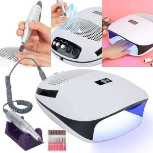 3 IN 1 Nail Lamp, Nail Dust Collector, Nail Drill, UV Gel Curing Dryer, Powerful Vacuum Strong Suction Cleaner, Electric Nail Drill Machine(US)