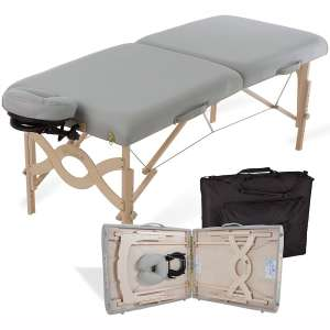 EARTHLITE Portable Massage Table Package AVALON – Reiki Endplate, Premium Flex-Rest Face Cradle & Strata Cushion, Carry Case
