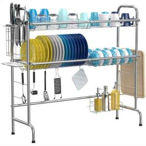Over the Sink Dish Drying Rack, iSPECLE 2-Tier Large 201 Stainless Steel Dish Rack with Utensil Holder Hooks Stable Bend Foot