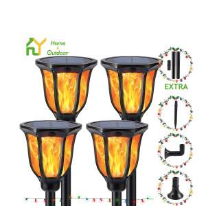 S.Y. Solar Lights 96 LED Torch Light Outdoor Flickering Flames, 4 Pack