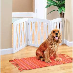 Zoogamo 3 Panel White Wooden Waves Design Pet Gate - Freestanding Tri Fold Durable Wooden Dog Fence - Indoor:Outdoor