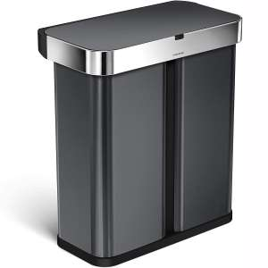 simplehuman 58 Liter:15.3 Gallon Dual Compartment Can Recycler Motion Sensor, Voice Activated, Black Stainless Steel Trash Receptacles