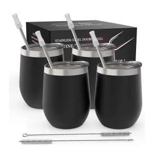 CHILLOUT LIFE 12oz 4 Pack Stemless Wine Tumblers