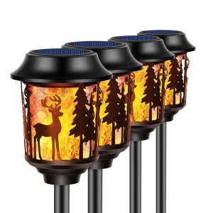 TomCare Solar Lights Christmas Flickering Flame Decoration Lights for Garden Yard or patio