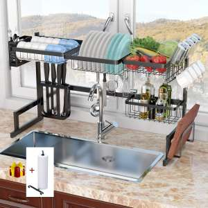 """Dish Rack Over Sink(32.5"""") Dish Drying Rack Kitchen Stainless Steel Over The Sink Shelf Storage Rack"""