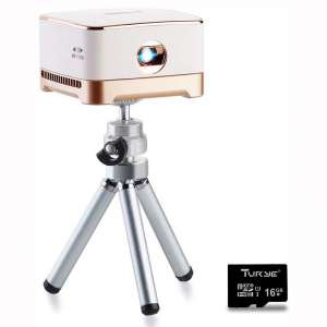 Mini Portable Projector, AMOOWA DLP Video Projector for Home & Outdoor, 100 Ansi Lumens, Support iPhone & Android Phone