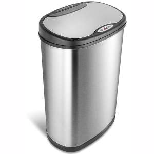 Ninestars DZT-50-13 Automatic Touchless Motion Sensor Oval Trash Can with Black Top, 13 gallon:50 L, Stainless Steel