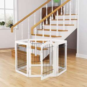 PAWLAND 144-inch Extra Wide 30-inches Tall Dog gate with Door Walk Through, Freestanding Wire Pet Gate for The House, Doorway, Stairs, Pet Puppy