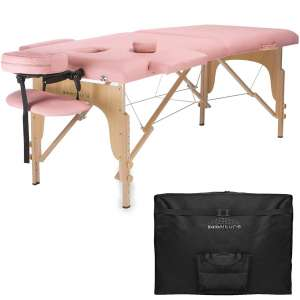 Saloniture Professional Portable Folding Massage Table with Carrying Case - Pink
