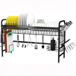 Over the Sink Dish Drying Rack, X-cosrack Stainless Steel Dish Rack with Utensil Holder Hooks Space Saver