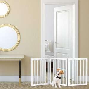 Freestanding Pet Gate 4 Panel,Scalloped Folding Fence for Doorways