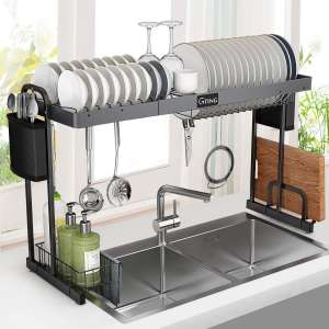"""Over Sink Dish Rack, G-TING Expandable Dish Drying Rack (27.5""""- 33.5""""), Large Dish Drainer Shelf with Utensil Holder"""