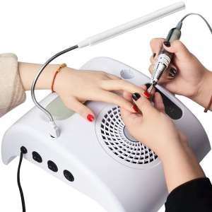 YOURFUN Nail Dust Collector Electric Nail File Machine New Upgraded Salon & Home Equipment Expert 3 in 1 Nail Machine with Nail Drill Dust Collector Desk Lamp