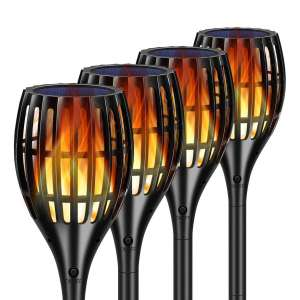 TomCare Solar Lights Waterproof Flickering Flame Pathway Garden Patio Solar Torches