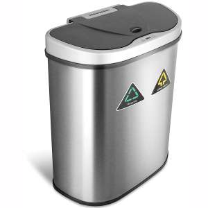 NINESTARS Automatic Touchless Infrared Motion Sensor Trash Can:Recycler with D Shape Silver