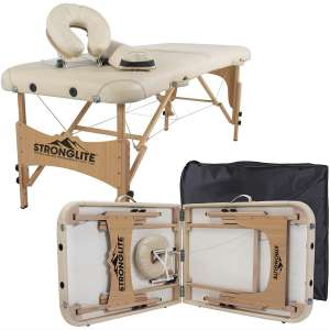 STRONGLITE Portable Massage Table Olympia - Double Knobs, Package w: Adjustable Face Cradle, Face Pillow, Half Round Bolster & Carry Case