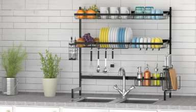image feature over sink dish racks