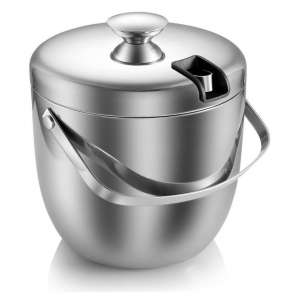 MKRSD Ice Bucket with an Insulated Stainless Steel Body -2.8L (Silver)
