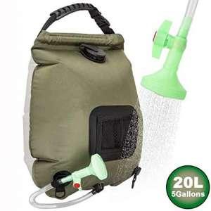 RuiMeer Camping Shower Bag 5 gallons:20L Solar Shower Bag for Outdoor Traveling Hiking Summer Shower