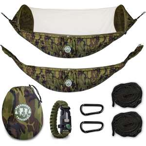 Trekbudz Hammock with Mosquito Bug net Bundle and Bonus Survival Bracelet. Including Tree Straps, carabiners and Carry Bag