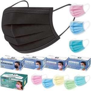 TCP Global Salon World Safety - Black, Pink, Blue, Aqua Colored Face Masks Variety Pack (50ea Color = 200 Masks) Kids Face Masks (10ea Color=50 Masks)