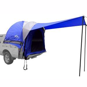 Hasika Waterproof Double Layer Full Size Truck 5.5 Foot Bed Tent with Floor Blue:Grey