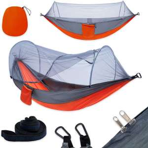 YOOMO Camping Hammock with Mosquito Net & Tree Straps Lightweight Parachute Fabric Travel Bed for Hiking