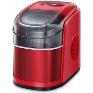 Kismile Ice Cube Maker Machine,26Lbs 24H Compact Automatic Ice Makers,9 Cubes Ready in 6-8 Minutes,Portable Ice Cube Maker with self-Cleaning Program