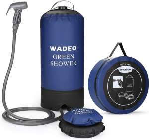 WADEO Camp Shower, 4 Gallons Portable Outdoor Camping Shower Bag Pressure Shower with Foot Pump and Shower Nozzle for Beach Swim Travel Hiking Backpacking