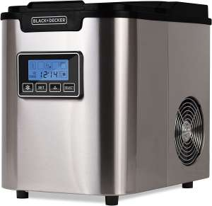 BLACK+DECKER BIMY126S 26-lb Capacity Stainless Steel Ice Maker, Silver