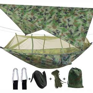 Camping 2 Person Hammock with Mosquito Net, Tent, Tree Straps Heavy Duty Waterproof Lightweight Nylon Portable Gammock