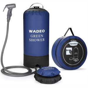 WADEO Camp Shower, 4 Gallons Portable Outdoor Camping Shower Bag Pressure Shower