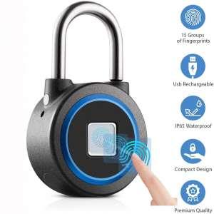Fingerprint Padlock, Bluetooth Connection Metal Waterproof, Suitable for House Door, Suitcase, Backpack