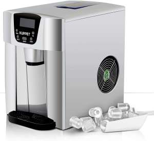 KUPPET 2 in 1 Countertop Ice Maker, Produces 36 lbs Ice in 24 Hours, Ready in 6min, LED Display (Silver)