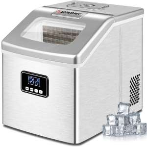 Euhomy Ice Maker Machine Countertop, 40Lbs 24H Portable Compact Ice Cube Maker, With Ice Scoop & Basket, Perfect