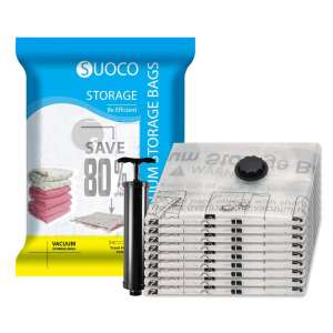 SUOCO 8 Pack Jumbo Vacuum Storage Bags Compression Bags with Hand Pump