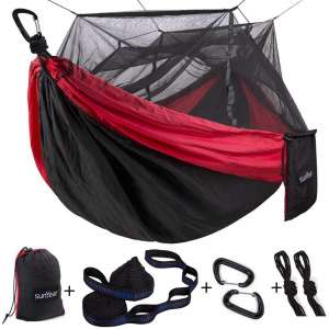 Single & Double Camping Hammock with Mosquito:Bug Net, 10ft Hammock Tree Straps and Carabiners, Easy Assembly