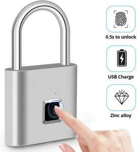 2020 Upgrade] Fingerprint Padlock, Fingerprint Smart Lock IP65 Waterproof Keyless Anti-Theft, Security Digital Lock Portable for Locker, Gym, Door, Luggage, Suitcase, Handbags, Wardrobes,Silver
