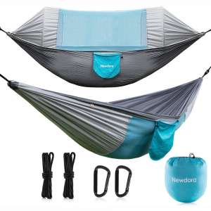 Newdora Hammock with Mosquito Net 2 Person Camping, Ultralight Portable Windproof