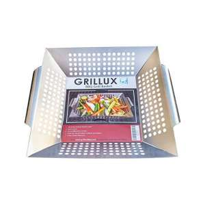 Grillux Vegetable Grill Basket for Veggies, Fish, and Meat