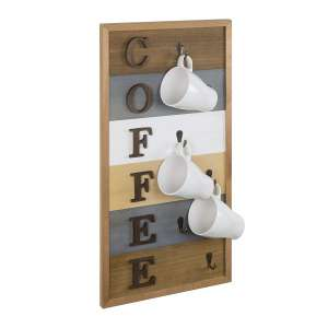 MyGift Rustic Wood Wall Mounted Cup Rack