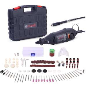 GOXAWEE Rotary Tool Kit with MultiPro Keyless Chuck and Flex Shaft - 140pcs Accessories Variable Speed Electric Drill Set